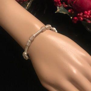 Stamped .925 Sterling Silver & 14K Gold Bracelet